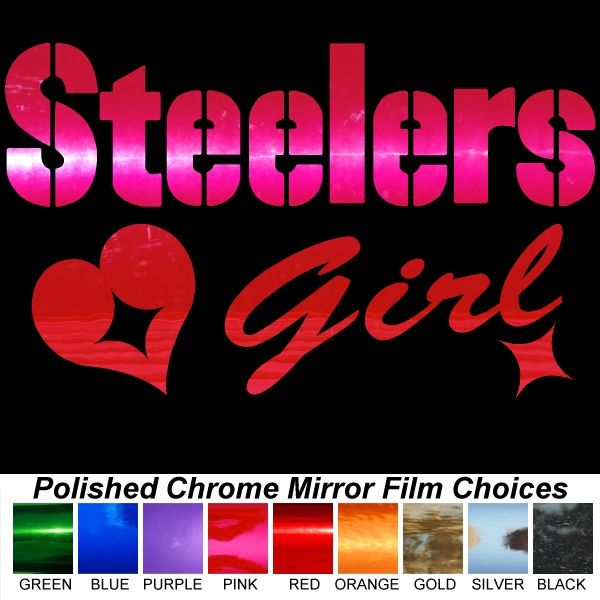 Steelers Girl Polished Chrome Auto Window Sticker Decal