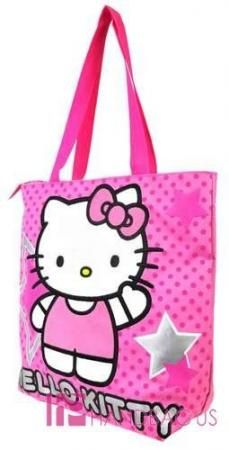 NWT Licensed SANRIO HELLO KITTY SHOPPER TOTE PURSE BAG KIDS PINK STARS