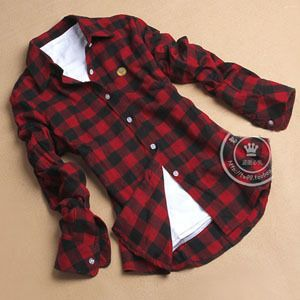 Button Down Casual Slim Shirt Plaid Flannel Warm Shirts Top Blouse Iau