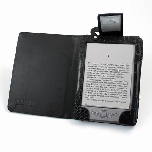 Kindle 4 Lighted Leather Folio Case Cover Black PU Illumicase K4