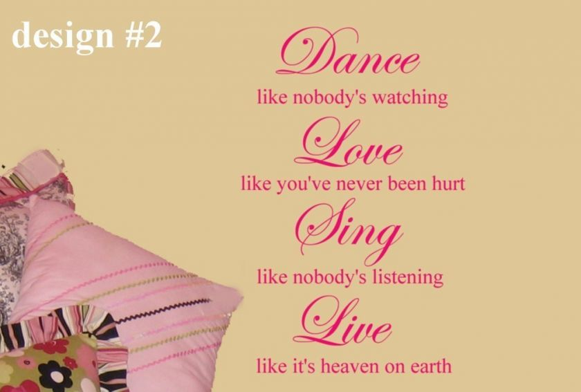 Dance Love Sing Live Girls Room vinyl wall art Decal
