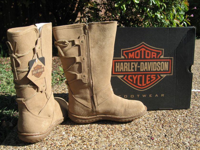 NEW Womens Harley Davidson Gypsum Tan Riding Boots $125