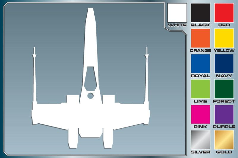 Star Wars X WING FIGHTER Silhouette cut vinyl decal #1