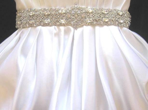 Bridal Wedding Dress Gown Beaded Crystal Belt Sash