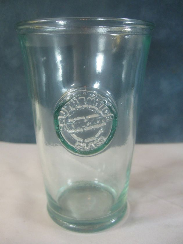 100% Auentic Recycled Glass Drinking Glass Tumbler Green Blue Tint
